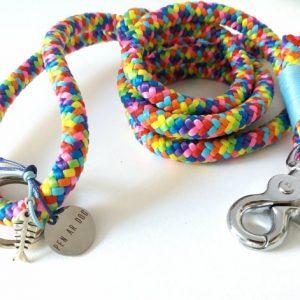Laisse en corde multicolore